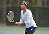 Samantha Galu of Jericho competes in the Nassau County varsity girls' tennis doubles consolation final at Eisenhower Park on Sunday, October 18, 2015.<br />