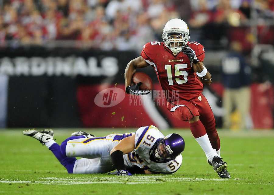 Dec 6, 2009; Glendale, AZ, USA; Arizona Cardinals wide receiver (15) Steve Breaston against the Minnesota Vikings at University of Phoenix Stadium. The Cardinals defeated the Vikings 30-17. Mandatory Credit: Mark J. Rebilas-