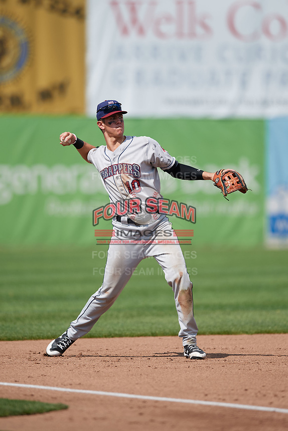 Mahoning Valley Scrappers third baseman Nolan Jones (10) warmup throw to first base during the second game of a doubleheader against the Auburn Doubledays on July 2, 2017 at Falcon Park in Auburn, New York.  Mahoning Valley defeated Auburn 3-2.  (Mike Janes/Four Seam Images)