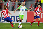 Atletico de Madrid's Carmen Menayo (l) and Andrea Pereira (r) and VfL Wolfsburg's Pernille Harden during UEFA Womens Champions League 2017/2018, 1/16 Final, 1st match. October 4,2017. (ALTERPHOTOS/Acero)