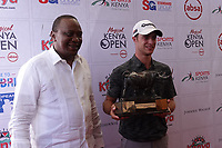 President Uhuru Kenyatta with Guido Migliozzi (ITA) in media presentation after the final round of the Magical Kenya Open, Karen Country Club, Nairobi, Kenya. 17/03/2019<br /> Picture: Golffile | Phil Inglis<br /> <br /> <br /> All photo usage must carry mandatory copyright credit (&copy; Golffile | Phil Inglis)