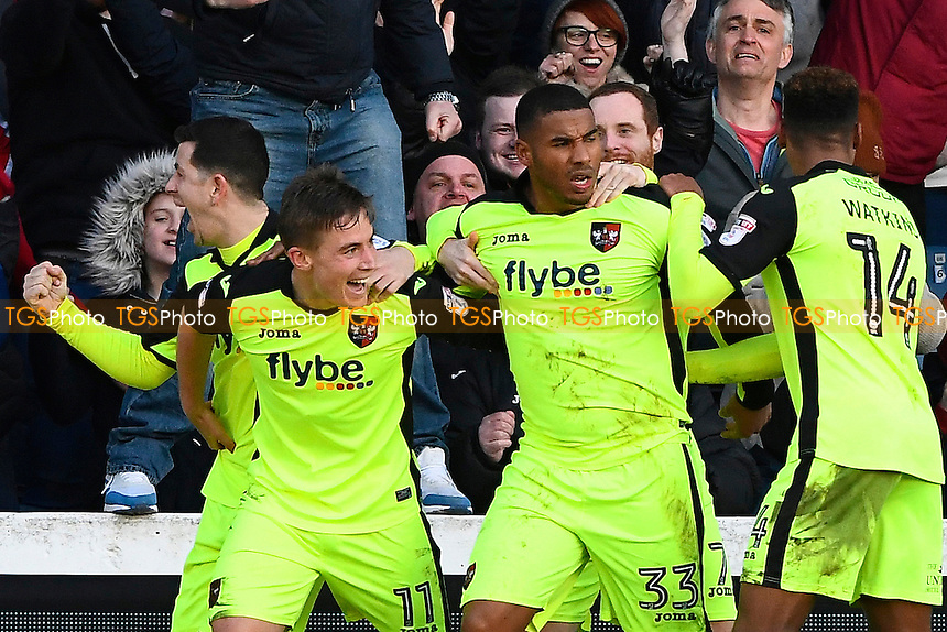 David Wheeler of Exeter City (11) celebrates scoring the first goal of the match with Reuben Reid and Ollie Watkins of Exeter City during Portsmouth vs Exeter City, Sky Bet EFL League 2 Football at Fratton Park on 28th January 2017