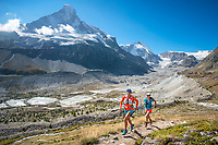 Trail running above Zermatt, with views of the Matterhorn, on the last day of the Via Valais, a multi-day trail running tour connecting Verbier with Zermatt, Switzerland.