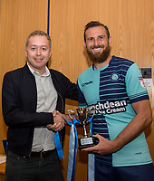 Captain Paul Hayes of Wycombe Wanderers poses with the 'Cherry Red Records Cup' with Cherry Red Records owner during the Friendly match between Wycombe Wanderers and AFC Wimbledon at Adams Park, High Wycombe, England on 25 July 2017. Photo by Andy Rowland.