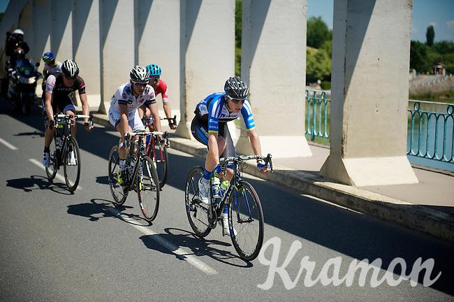 escape group over the Saône River Bridge:<br /> Sebastian Langeveld (NLD/Garmin-Sharp), Simon Clarke (AUS/Orica-GreenEDGE), David De la Cruz (ESP/NetApp-Endura), Grégory Rast (CHE/Trek Factory Racing) & Florian Vachon (FRA/Bretagne-Séché Environnement)<br /> <br /> 2014 Tour de France<br /> stage 12: Bourg-en-Bresse - Saint-Etiènne (185km)