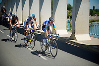 escape group over the Saône River Bridge:<br /> Sebastian Langeveld (NLD/Garmin-Sharp), Simon Clarke (AUS/Orica-GreenEDGE), David De la Cruz (ESP/NetApp-Endura), Grégory Rast (CHE/Trek Factory Racing) & Florian Vachon (FRA/Bretagne-Séché Environnement)<br /> <br /> 2014 Tour de France<br /> stage 12: Bourg-en-Bresse - Saint-Etiènne (185km)