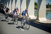 escape group over the Sa&ocirc;ne River Bridge:<br /> Sebastian Langeveld (NLD/Garmin-Sharp), Simon Clarke (AUS/Orica-GreenEDGE), David De la Cruz (ESP/NetApp-Endura), Gr&eacute;gory Rast (CHE/Trek Factory Racing) &amp; Florian Vachon (FRA/Bretagne-S&eacute;ch&eacute; Environnement)<br /> <br /> 2014 Tour de France<br /> stage 12: Bourg-en-Bresse - Saint-Eti&egrave;nne (185km)