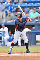 Rome Braves catcher Brett Cumberland (28) awaits a pitch during a game against the Asheville Tourists at McCormick Field on June 12, 2017 in Asheville, North Carolina. The Tourists defeated the Braves 7-0. (Tony Farlow/Four Seam Images)