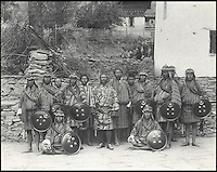 BNPS.co.uk (01202 558833)<br /> Pic: Bonhams/BNPS<br /> <br /> Sir Ugyen Wangchuk (centre) and his bodyguards, photographed in Bhutan in 1905 by Sir John Claude White.<br /> <br /> Fascinating 112 year-old photographs of Bhutan taken decades before the remote country in the Himalayas became open to outsiders have been unearthed.<br /> <br /> The images provide an unprecedented insight into the isolated kingdom nestled between India and China in the heart of the Himalayas at the beginning of the 20th century. <br /> <br /> The country was almost completely cut off for centuries as it sought to protect its ancient traditions and has only become more accessible to visitors since the 1970s. Such has been their desire to protect their heritage they didn't have TV until 1999.<br /> <br /> The photographs are believed to have belonged to the family of someone who took part in the expedition to Bhutan in 1905 and have since been passed to a private collector.<br /> <br /> The present owner has now decided to submit them for auction and they are tipped to sell for &pound;15,000.