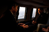 United States President Barack Obama talks with Sung Kim, U.S. Ambassador to Republic of Korea, aboard Marine One during an early morning flight from Osan Air Base to the landing zone at U.S. Army Garrison Yongsan in Seoul, Republic of Korea, March 25, 2012. .Mandatory Credit: Pete Souza - White House via CNP
