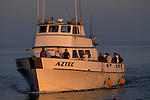 Commercial sport fishing boat and fishermen return to port at sunset, Long Beach Harbor, California