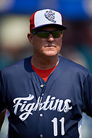 Reading Fightin Phils manager Greg Legg (11) during the first game of a doubleheader against the Portland Sea Dogs on May 15, 2018 at FirstEnergy Stadium in Reading, Pennsylvania.  Portland defeated Reading 8-4.  (Mike Janes/Four Seam Images)