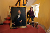"The Blair Estate sale - Caroline Borwick with the portrait of Lord Frederick Roberts from whom the the phrase ""Bob's your Uncle is thought to have originated - the dogs are Bramble and Poppy (right) – picture by Donald MacLeod 21.2.12 www.donald-macleod.com clanmacleod@btinternet.com"