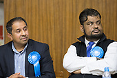 Hustings with Conservative, Labour, Liberal Democrats and Green local election candidates for two of the council wards, Camden, London. Shamin Ahmed (L) Mohammed Salim (R)