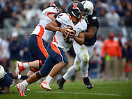 November 2, 2013  (State College, Pennsylvania)  Quarterback Nathan Scheelhaase #2 of the Illinois Fighting Illini runs for a first down in the 4th quarter against the Penn State Nittany Lions November 2, 2013.   Penn State won in OT 24-17. (Photo by Don Baxter/Media Images International)