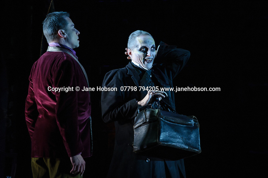 London, UK. 07.10.2015. English Touring Opera presents THE TALES OF HOFFMANN, at the Britten Theatre, Royal College of Music. Written by Jacques Offenbach, with libretto by Jules Barbier, this production is directed by James Bonas. Picture shows: Tim Dawkins (Crespel), Warwick Fyfe (Dr Miracle). Photograph © Jane Hobson.