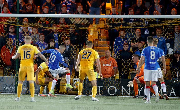 25.09.2018 Livingston v Rangers: Allan McGregor saves and Steven Davis clears off the line