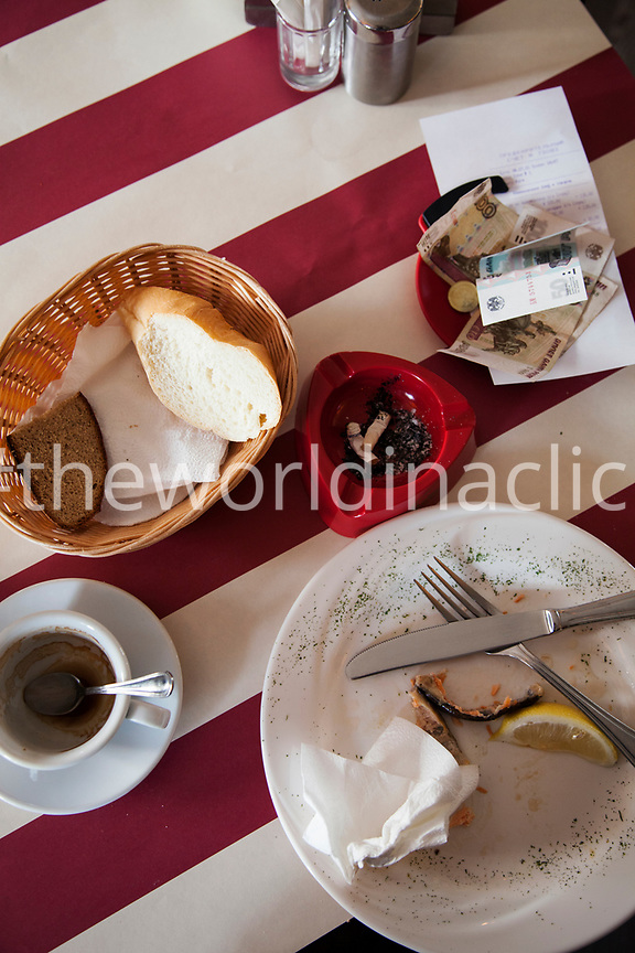 RUSSIA, Moscow. Table still life at Mayak Restaurant.