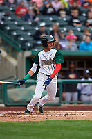 Fort Wayne TinCaps Tucupita Marcano (15) at bat during a Midwest League game against the Kane County Cougars at Parkview Field on May 1, 2019 in Fort Wayne, Indiana. Fort Wayne defeated Kane County 10-4. (Zachary Lucy/Four Seam Images)