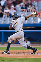 Austin Jackson (31) of the Trenton Thunder follows through on his swing versus the Connecticut Defenders at Dodd Stadium in Norwich, CT, Tuesday, June 3, 2008.