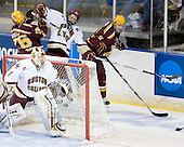 (Muse) Jay Barriball (Minnesota - 26), Mike Brennan (BC - 4), Mike Hoeffel (Minnesota - 11) - The Boston College Eagles defeated the University of Minnesota Golden Gophers 5-2 on Saturday, March 29, 2008, in the NCAA Northeast Regional Semi-Final at the DCU Center in Worcester, Massachusetts.
