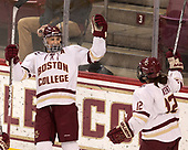 Megan Keller (BC - 4), Kenzie Kent (BC - 12) - The number one seeded Boston College Eagles defeated the eight seeded Merrimack College Warriors 1-0 to sweep their Hockey East quarterfinal series on Friday, February 24, 2017, at Kelley Rink in Conte Forum in Chestnut Hill, Massachusetts.The number one seeded Boston College Eagles defeated the eight seeded Merrimack College Warriors 1-0 to sweep their Hockey East quarterfinal series on Friday, February 24, 2017, at Kelley Rink in Conte Forum in Chestnut Hill, Massachusetts.