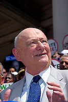 Former NYC Mayor Edward I. Koch endorses NYC Comptroller William Thompson for re-election on the steps of NY City Hall on July 20, 2005. Thompson faces no opponent in the Democratic Primary and only token opposition in the general election from a candidate on the Conservative Party. Thompson's office controls thousands of millions of dollars in city money and union pension funds as well as being the fiscal watchdog for city spending. (© Richard B. Levine)