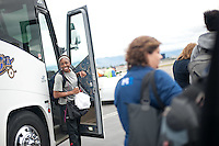 SAN JOSE, CA--Nneka Ogwumike leaves the bus at Atlantic Aviation in San Jose en route to Norfolk, VA for the first and second rounds of the 2012 NCAA tournament.