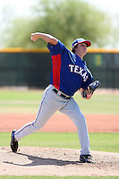 Luke Jackson of the Texas Rangers plays in an extended spring training game against the Los Angeles Dodgers at the Rangers minor league complex on May 7, 2011  in Surprise, Arizona. .Photo by:  Bill Mitchell/Four Seam Images.