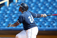 Lake County Captains outfielder Carlos Moncrief #24 at bat during the second game of a double header against the West Michigan Whitecaps at Classic Park on May 30, 2011 in Eastlake, Ohio.  Lake County defeated West Michigan 4-3.  Photo By Mike Janes/Four Seam Images