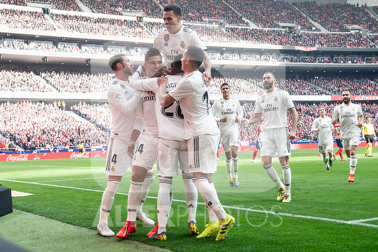 Carlos Henrique Casemiro, Sergio Ramos, Lucas Vazquez and Vinicius Jr of Real Madrid celebrating a goal during La Liga match between Atletico de Madrid and Real Madrid at Wanda Metropolitano in Madrid Spain. February 09, 2018. (ALTERPHOTOS/Borja B.Hojas)