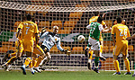 Ivan Sproule knocks in the third goal for Hibs