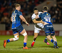 6th March 2020; AJ Bell Stadium, Salford, Lancashire, England; Premiership Rugby, Sale Sharks versus London Irish; Ben Curry of Sale Sharks is tackled by Terrence Hepetema of London Irish