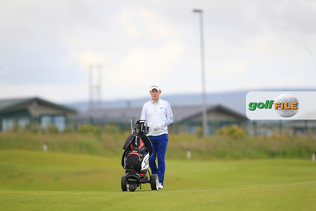 Geoff Lenehan (Portmarnock) on the 2nd fairway during Round 2 of the North of Ireland Amateur Open Championship at Royal Portrush, Dunluce Course on Tuesday 14th July 2015.<br />
