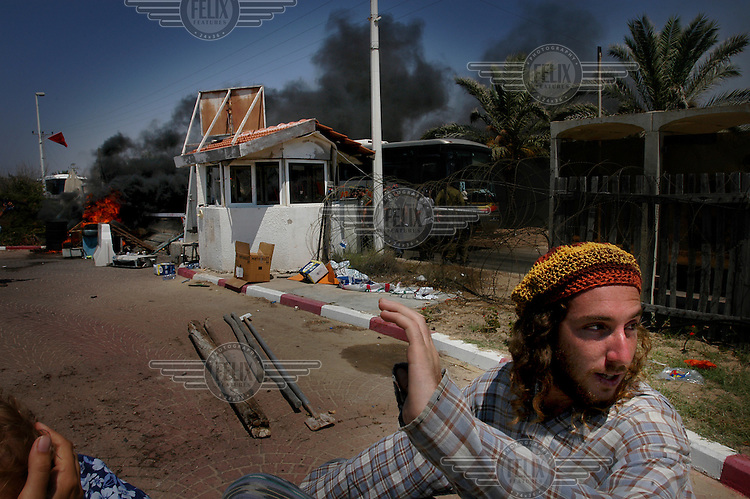 Israeli settler Shaltiel pictured during a raid on the Palm Beach hotel. The hotel had been taken over by settlers fighting the Israeli disengagement from Gaza, who had renamed it Maoz Hayam (fortified place). But in the event the police and army raid swiftly overcame their resistance and cleared the hotel, in one of the opening salvoes of the withdrawal. The Israeli government disbanded the settlements in Gaza in August 2005.