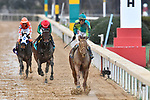 HOT SPRINGS, AR - FEBRUARY 19: Jockey Corey Lanerie #3 riding Hawaakom (right) and winning the Razorback Handicap at Oaklawn Park on February 19, 2018 in Hot Springs, Arkansas. (Photo by Ted McClenning/Eclipse Sportswire/Getty Images)