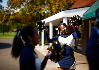 Cheerleaders from the Jalen Rose Leadership Academy charter school welcome guests to the 5th annual Jalen Rose Leadership Academy golf tournament at the Detroit Golf Club in Detroit, Michigan on Monday August 31, 2015. (Photo by Jared Wickerham/The Players Tribune)