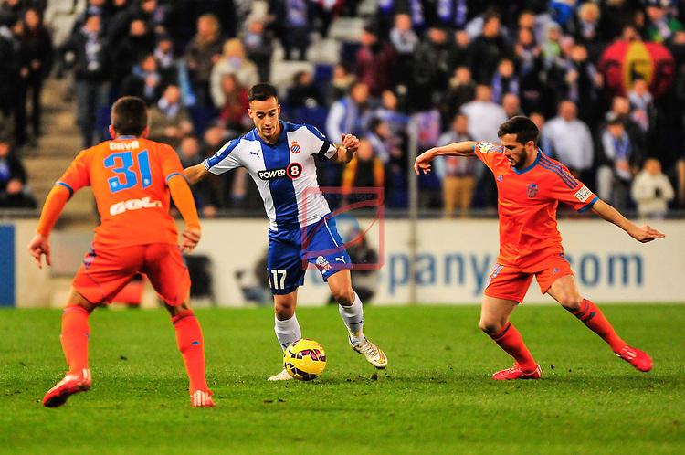 League BBVA 2014/2015 - Game: 22.<br /> RCD Espanyol vs Valencia CF: 1-2.<br /> Gaya, Lucas Vazquez &amp; Piatti.