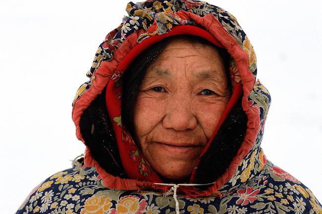 Tatiana Amytitina, an elderly Chukchi woman, from Uelen. Chukotskij Peninsula, Chukotka, Siberia, Russia.