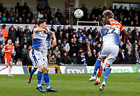 Blackpool's Armand Gnanduillet heads under pressure from Bristol Rovers' Joe Partington <br /> <br /> Photographer Andrew Kearns/CameraSport<br /> <br /> The EFL Sky Bet League Two - Bristol Rovers v Blackpool - Saturday 2nd March 2019 - Memorial Stadium - Bristol<br /> <br /> World Copyright © 2019 CameraSport. All rights reserved. 43 Linden Ave. Countesthorpe. Leicester. England. LE8 5PG - Tel: +44 (0) 116 277 4147 - admin@camerasport.com - www.camerasport.com