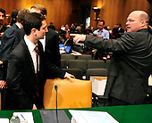 """Fabrice P. Tourre, Executive Director, Structured Products Group Trading, The Goldman Sachs Group, Inc. (GSI), left is directed to his seat by an unidentified staff member, right, as he arrives to testify before the United States Senate Permanent Subcommittee on Investigations hearing on """"Wall Street and the Financial Crisis: The Role of Investment Banks"""" using Goldman Sachs as a case study on Tuesday, April 27, 2010. .Credit: Ron Sachs / CNPFabrice P. Tourre, Executive Director, Structured Products Group Trading, The Goldman Sachs Group, Inc. (GSI), departs after giving testimony before the United States Senate Permanent Subcommittee on Investigations hearing on """"Wall Street and the Financial Crisis: The Role of Investment Banks"""" using Goldman Sachs as a case study on Tuesday, April 27, 2010. .Credit: Ron Sachs / CNP.(RESTRICTION: NO New York or New Jersey Newspapers or newspapers within a 75 mile radius of New York City)"""