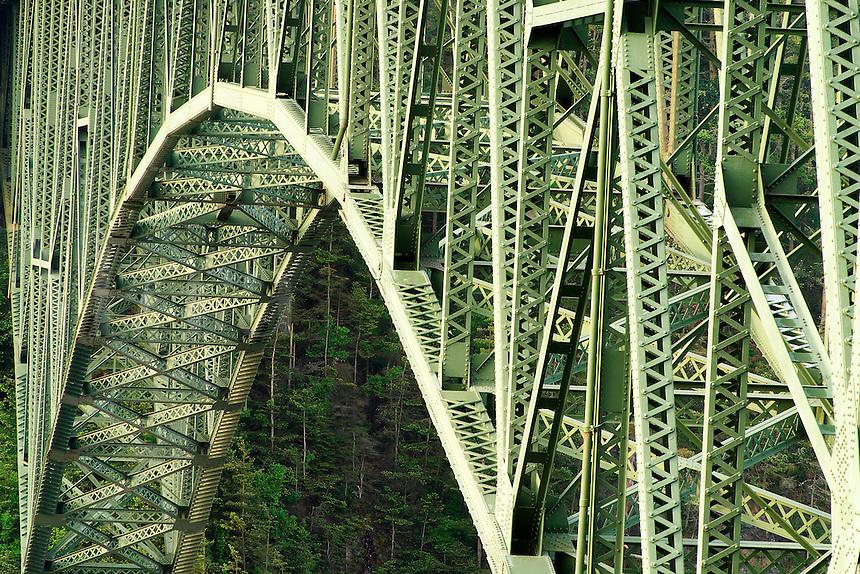 Steel structure of Deception Pass Bridge, Deception Pass State Park, Island County & Skagit County, Washington, US