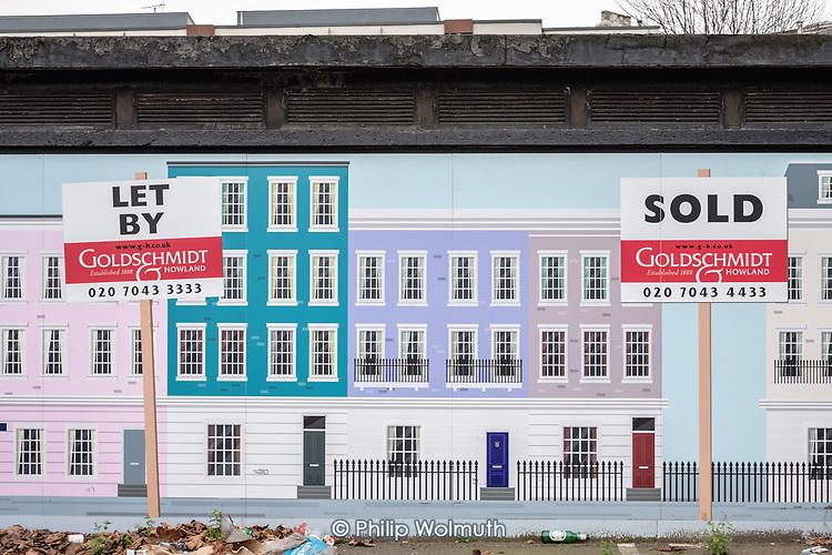 Goldschmidt & Howland estate agent hoarding, Camden Town.