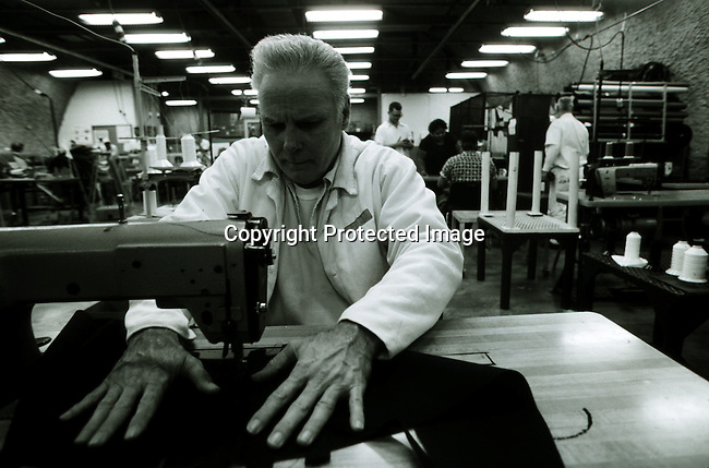 disipri00113.Social Issues. Prisons. Texas Death Row inmate Carl Buntion in the sewing factory on April 12, 1997 at Ellis Unit in Huntsville, Texas USA. As he is a model prisoner he's allowed to work. He has a wife and two children in Houston, Texas. There's about 450 prisoners on Texas Death Row and the state has the most  executionsin the US. Crime. Criminals. .©Per-Anders Pettersson/iAfrika Photos