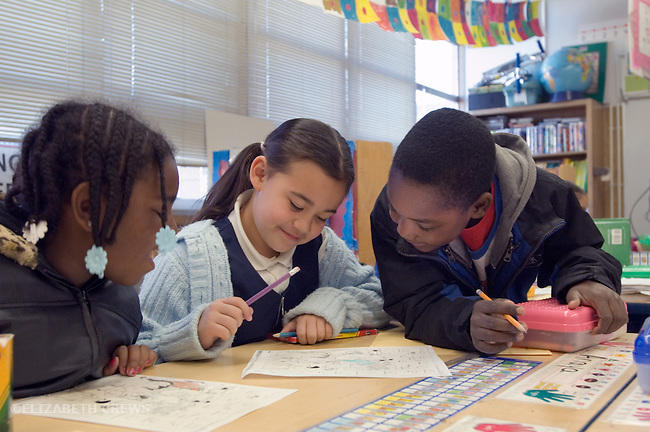 Oakland CA 2nd graders discussing their work in class
