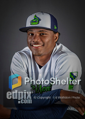 11 June 2019: Vermont Lake Monsters pitcher Jose Mora poses for a portrait on Photo Day at Centennial Field in Burlington, Vermont. The Lake Monsters are the Single-A minor league affiliate of the Oakland Athletics and play a short season in the NY Penn League Stedler Division. Mandatory Credit: Ed Wolfstein Photo *** RAW (NEF) Image File Available ***