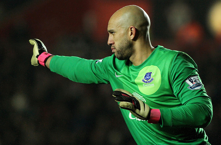 Everton's Tim Howard...- Credit - CameraSport - James Marsh - ..Football - Barclays Premiership - Southampton v Everton - Monday 21st January 2013 - St Mary's - Southampton..
