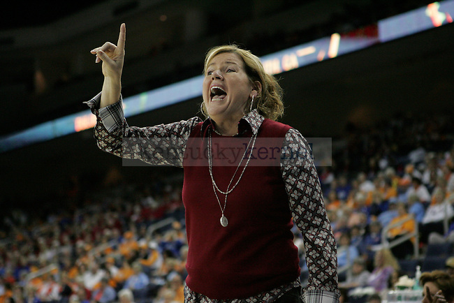 Vanderbilt head coach Melanie Balcomb during the second half of the University of Kentucky women's basketball game vs. Vanderbilt University during the SEC tournament The Arena at Gwinnett Center in Duluth, Ga. on Friday, March 8, 2013. UK won 76-65. Photo by Genevieve Adams | Staff