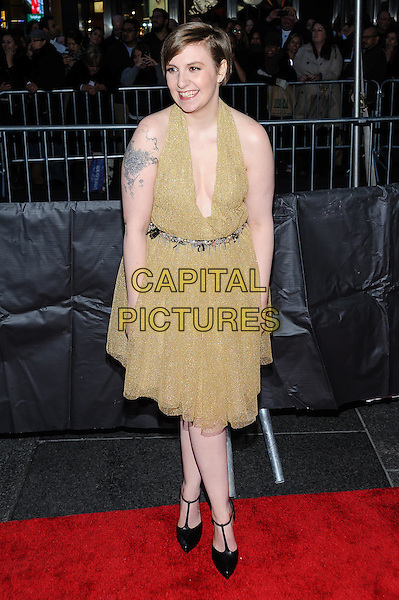 Lena Dunham.Time 100 Gala at The Time Warner Center, New York, New York, USA..April 23rd, 2013.full length gold halterneck dress tattoo black shoes belt silver .CAP/ADM/MSA.©Mario Santoro/AdMedia/Capital Pictures