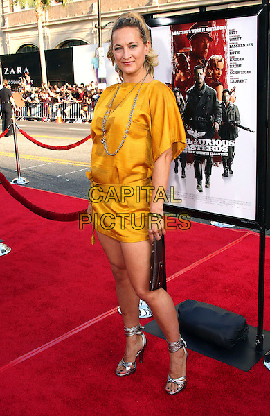 "ZOE BELL .""Inglourious Basterds"" Los Angeles Premiere held at Grauman?s Chinese Theatre, Hollywood, California, USA, .10th August 2009..full length yellow mustard dress silver ankle strap shoes strappy clutch bag necklace .CAP/ADM/TC.©T. Conrad/Admedia/Capital Pictures"